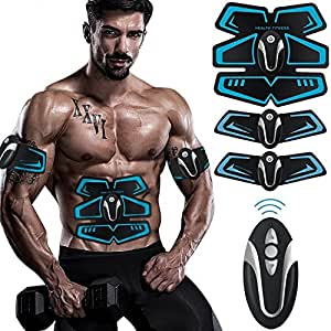 Buydaly Intelligent wireless fitness apparatus,Abdominal muscle toner, Gym Massager Pad Abdominal Muscle Exerciser Belts Fat Burner with Remote control,portable fitness training gear,Wireless Muscle Exercise For Abdomen/Arm/Leg Training