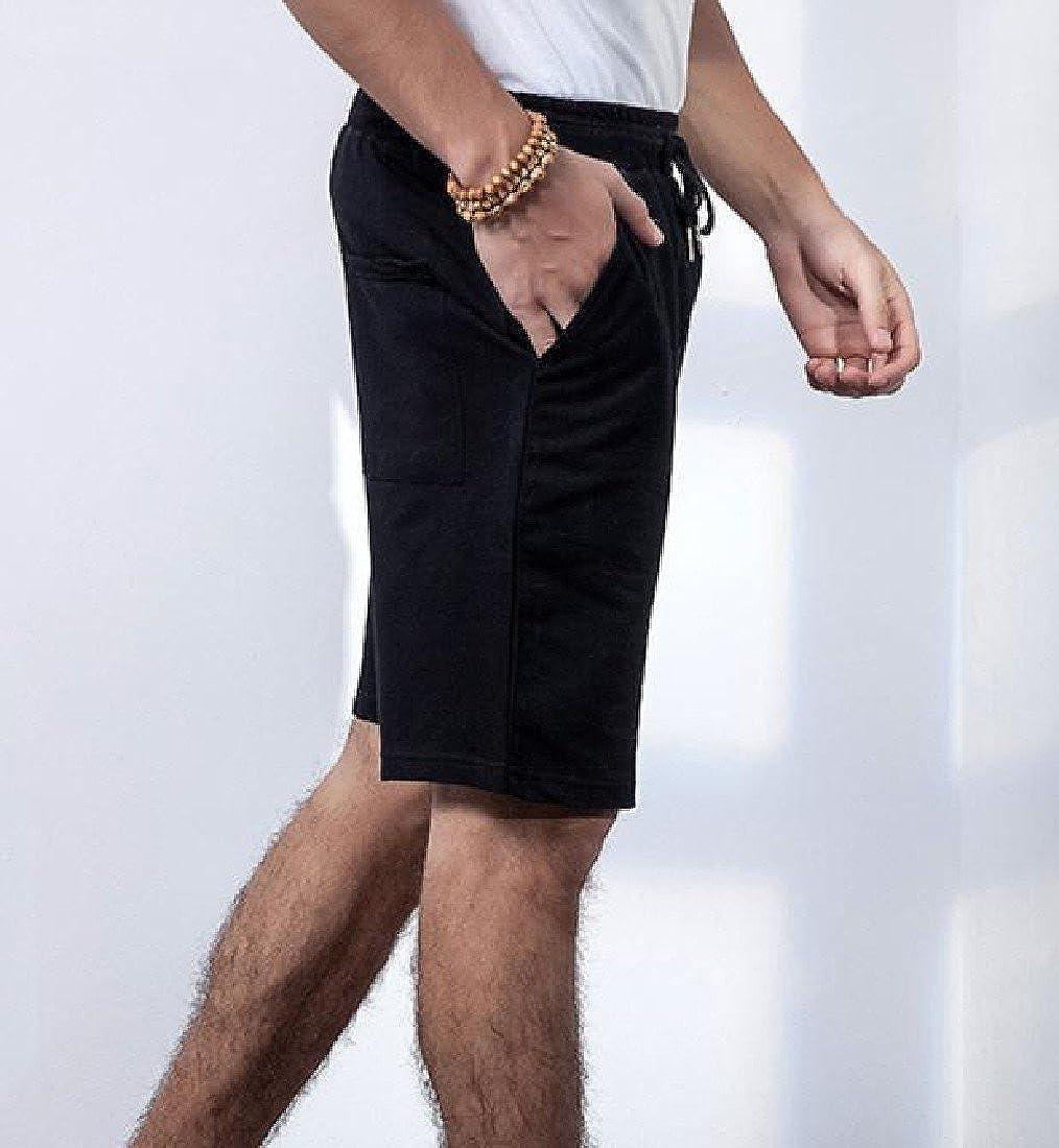 Sheng Xi Mens Loose Fit Pocket Solid Cotton Athletic-Fit Short Pants