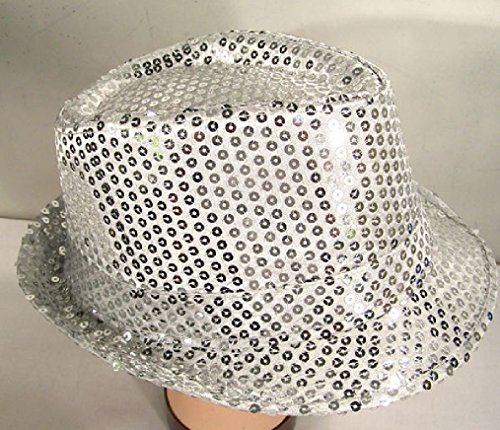 Silver Sequin Fedora Hat Flashey New Dance Cap Sparkle Dancing Dressup Hats Nice (Princess In Prison Costume)