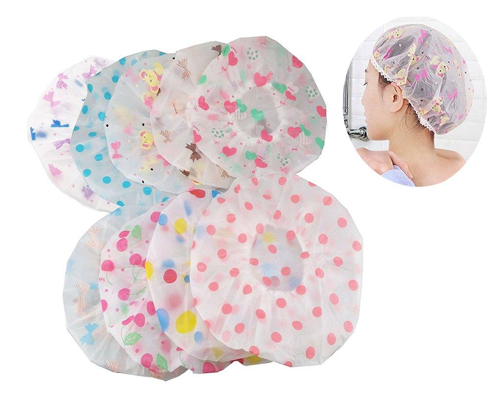yueton Pack of 8 Vogue Lady Elastic Waterproof Plastic Shower Bathing Salon Hair Cap (animal series)