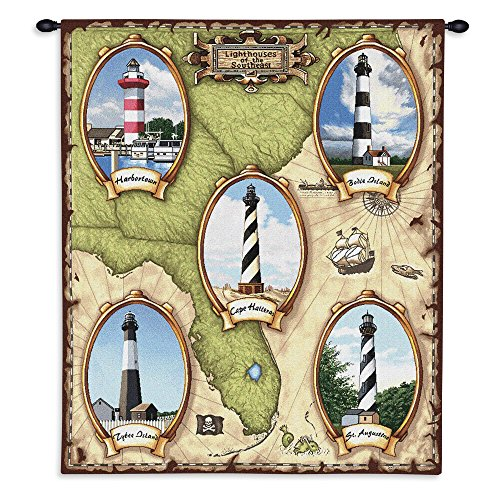 (Pure Country Weavers - Lighthouses of the Southeast Harbor Town Cape Hateras Bodie Saint Augistine Tybee Island Hand Finished European Style Jacquard Woven Wall Tapestry. USA Size)