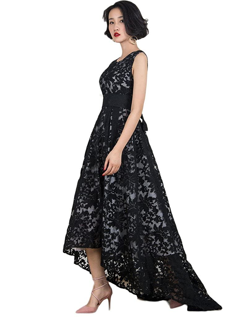 Victorian Clothing, Costumes & 1800s Fashion PERSUN Womens Black Evening Dress Lace Layout Hi-lo Maxi Prom Dresses $44.99 AT vintagedancer.com