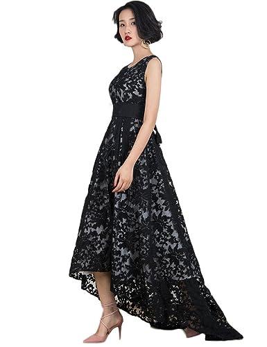 Persun Women's Black Elegant Lace Sleeveless Hi-lo Maxi Dress Formal Gown