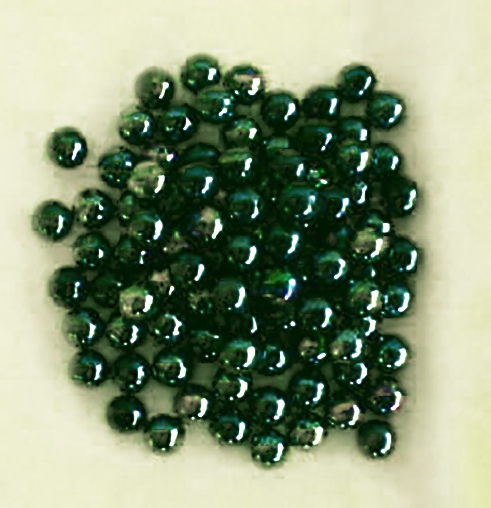 """Unique & Custom {9/16'' Inch} Set of Approx 100 Small """"Round"""" Opaque Marbles Made of Glass for Filling Vases, Games & Decor w/ Iridescent Soothing Earthy Emerald Design [Green]"""