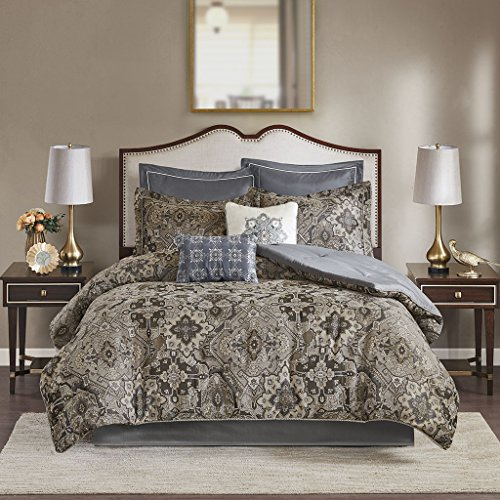 Madison Park Hillrose 8 Piece Chenille Jacquard Comforter Set Neutral King