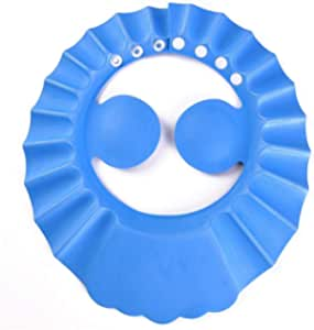 Auma Soft Adjustable Baby Shower Safe Protection Cap - Cute Leak Proof Children Shampoo Bath Bathing Wash Hair Shield Hat for Toddler, Kids - Blue…