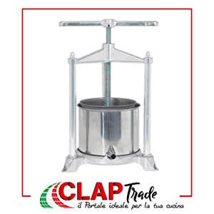 Fruit Press - Italian, 3 Liter, Food-Grade Polished Aluminum with Stainless Steel Press,For Wine and Cider Making
