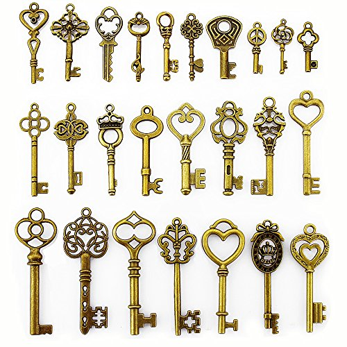 LolliBeads (TM) 2 Sets of Assorted Pewter Antiqued Brass Bronze Charms Pendants Victorian Filigree Heart Royal Key (50 Pcs) (Victorian Key)