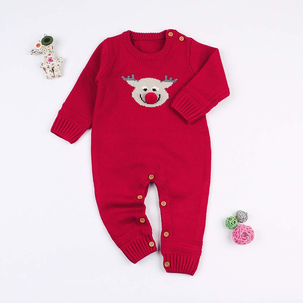 Iuhan  for 0-24Months Baby Christmas Knitted Romper Pajamas Kids Long Sleeve Jumpsuit