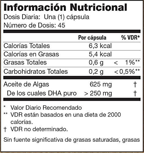 Testa Omega-3 Aceite de Algas DHA 250mg (45 cápsulas) (45 cápsulas): Amazon.es: Salud y cuidado personal