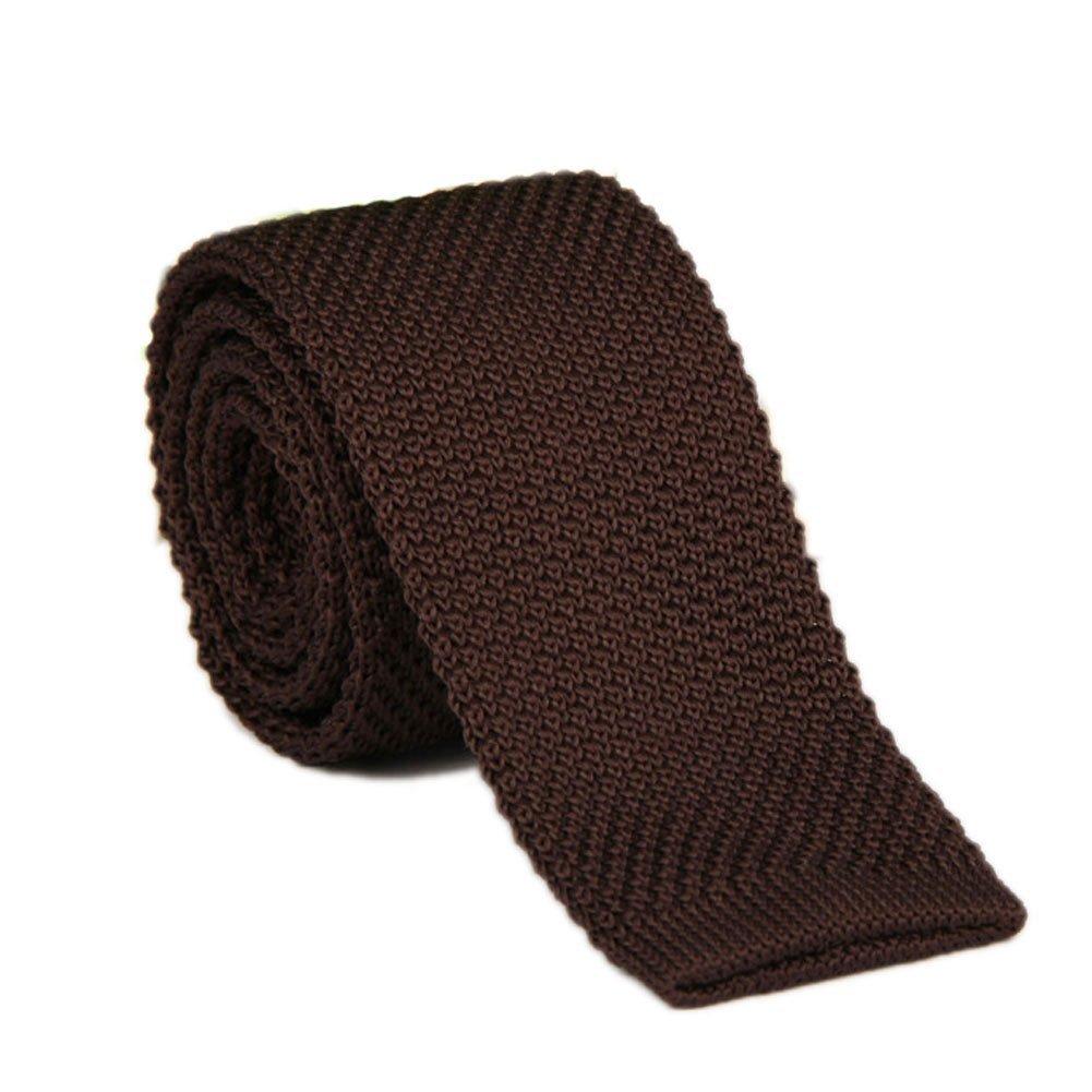 AngelShop Vintage Smart Casual Mens Solid 2 Skinny Knit Tie For Groom Various Colors Tie_Brown