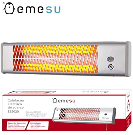 EMESU Calefactor Estufa de Cuarzo 1200w radiador casa baño para la Pared