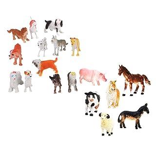 MagiDeal 18 Pezzi Modelli Figure Domestica Cucciolo Cane Mucca Pecora Giocattoli Bambini Plastica Multicolore