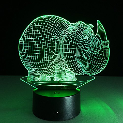 JSTMYYXGS 3D Night Light, Rhino 3D Acrylic Table Lamp Bedroom Bedside Lamp LED Night Light Creative Gift Lighting, (Size : with Music Player) by JSTMYYXGS (Image #3)