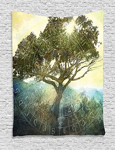 Tree of Life Collection Sun Shining through Tree Ancient Astrology Chart Magical Boho Art Print Green Yellow Blue Supersoft Throw Fleece Blanket 59.05