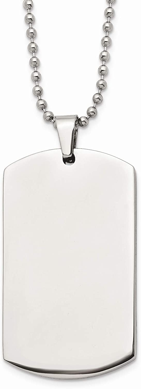 Bonyak Jewelry Stainless Steel Brushed /& Polished Rounded Edge 4mm Thick Dog Tag Necklace in Stainless Steel