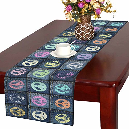 Cotton Peace Patch - InterestPrint Grunge Blue Patchwork with Peace Sign Table Runner Cotton Linen Cloth Placemat Home Decor for Home Kitchen Dining Wedding Party 16 x 72 Inches