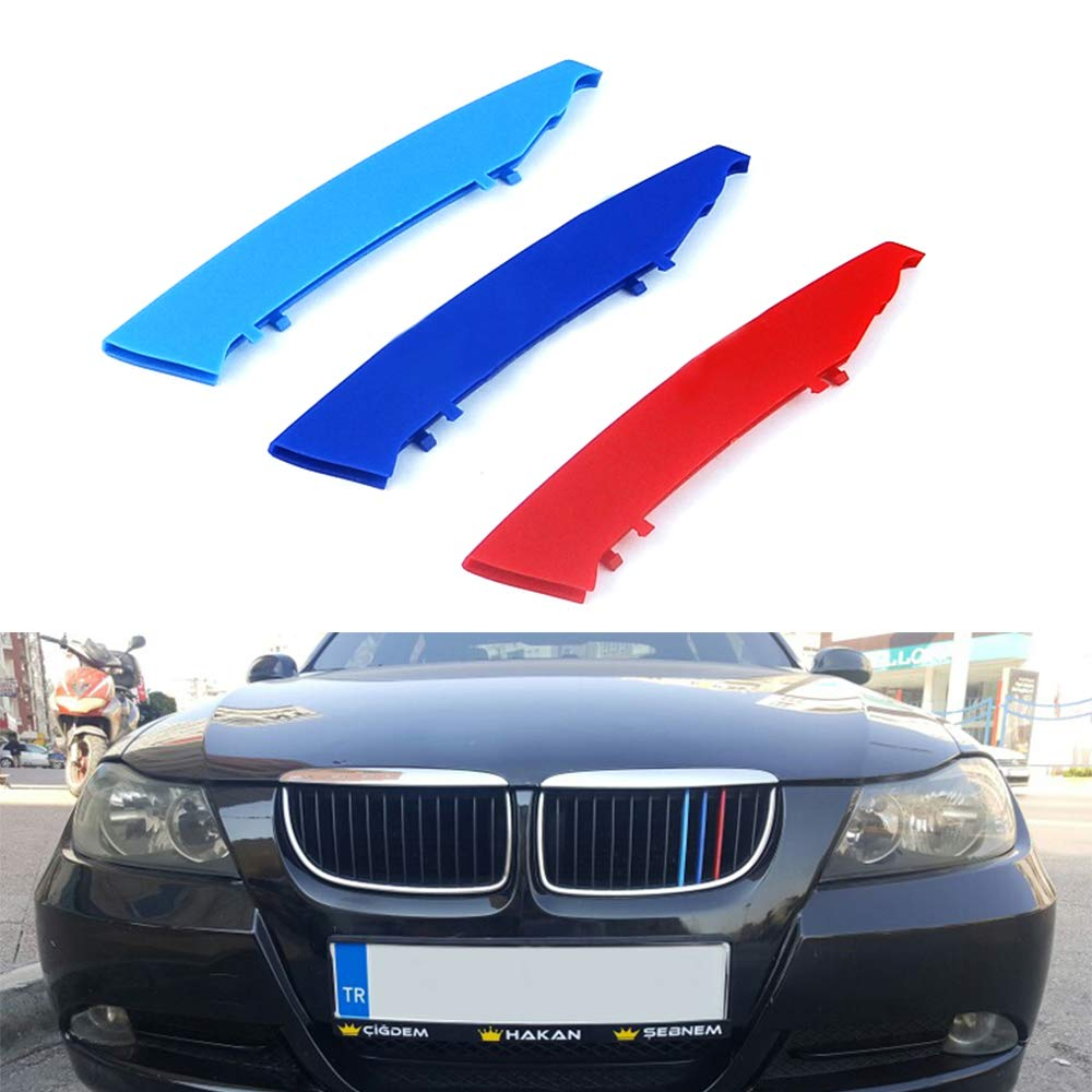 3D M Styling 3 Colors Front Grille Trim Motorsport Stripes Grill Cover Performance Stickers 3Pcs 12 Grilles one Side for 05-08 BMW 3 Series E90 E91