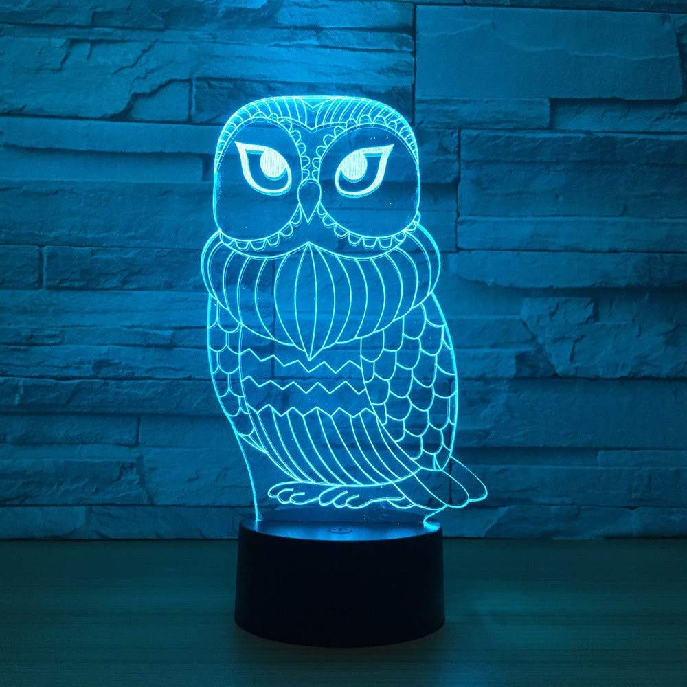 OVIIVO Creative Table Lamp Desk Lamp 3D Lamp Cute Owl 7 Color Led Night Lamps for Kid Touch Led USB Table Lampara Baby Sleeping Nightlight Led with Sensor Using for Reading, Working