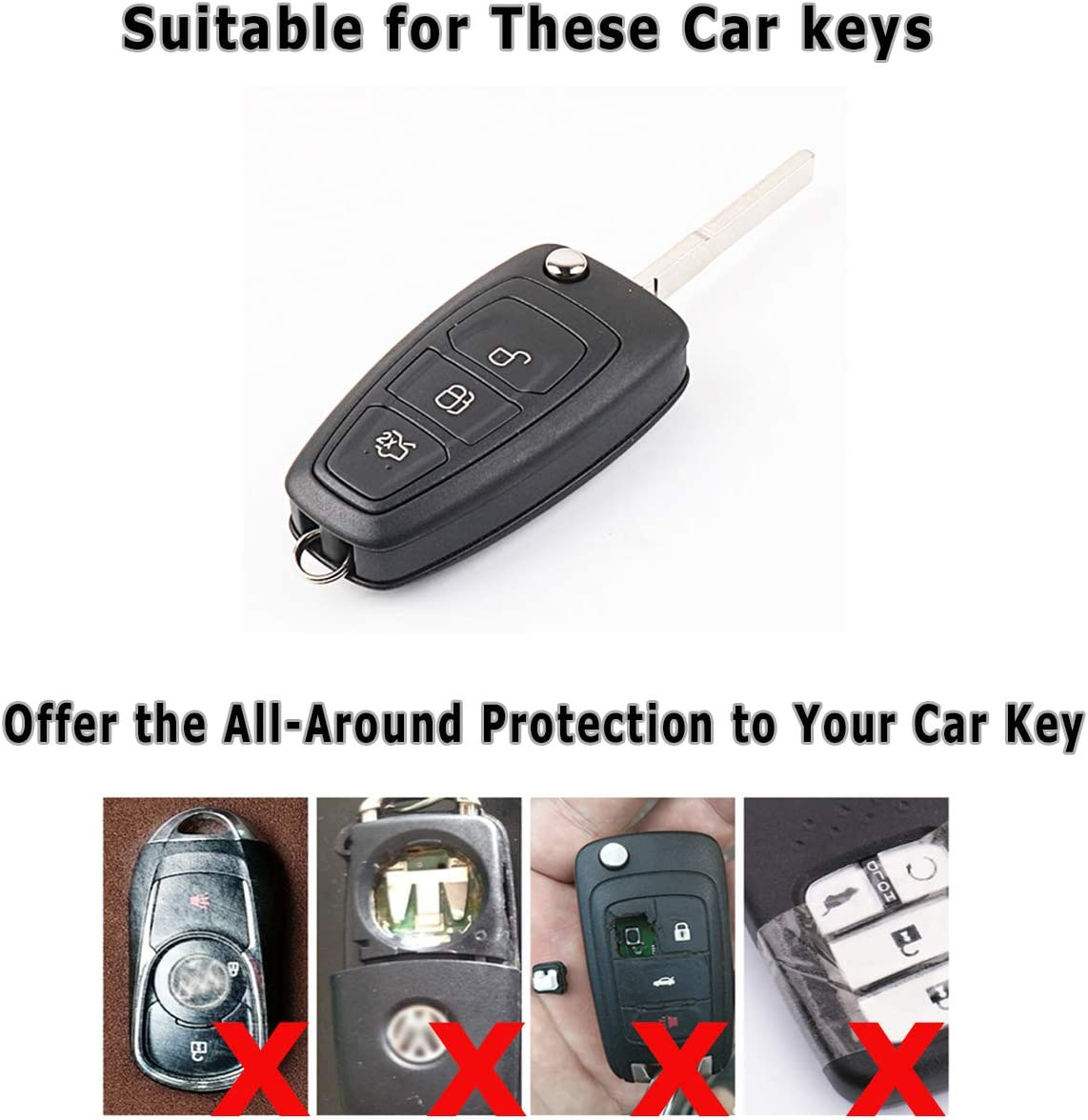 RED Kaser Soft TPU 2 3 Buttons Flip Car Key Fob Case Cover Holder Shell Protector for Ford C-Max S-Max Focus 3 MK2 MK3 Galaxy Mondeo Transit Fiesta Kuga Escape Ecosport Remote Control