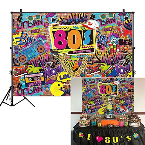 Allenjoy 7x5ft Fabric 80s Party Backdrop for Pictures Hip Hop Rock Punk Music Disco Retro Adult Birthday Colorful Graffti Brick Wall Event Banner Decorations Photo Booth Shoot Photography Background]()
