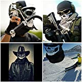 Shovan SH5005 Skull Mask Bandana Headwear Scary Dust-Proof Windproof Motorcycle Half Face Mask,2 Pack