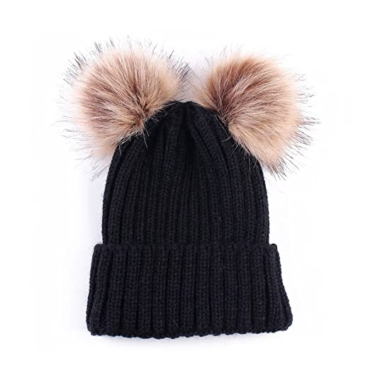 d3137712c Women Winter Chunky Knit Double Pom Pom Beanie Hats Cozy Warm Slouchy Hat