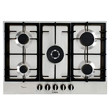 Bosch Serie 6 PCQ7A5B90 hobs Acero inoxidable Integrado Encimera de gas - Placa (Acero inoxidable, Integrado, Encimera de gas, Acero inoxidable, 1000 ...