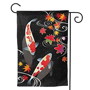 Ifg-fjh Japanese Koi Fish Garden Flag Vertical Double Sided 12.5 X 18 Inch and 28x40 Inch Two Sizes Floral Beach Yard Outdoor Decor