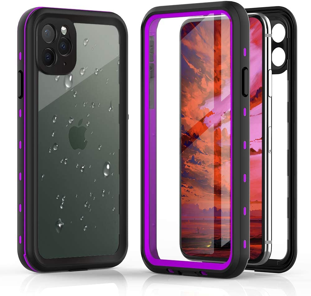 VONNOBILITY Waterproof Case for iPhone 11 Pro Max - Underwater Full Sealed Cover IP68 Certified for Waterproof Snowproof Shockproof and Dustproof Case for iPhone 11 Pro Max 6.5in (Clear-Purple)