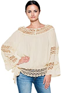 f21973d7a74 ELAN V-Neck Flounce Crop Top in White at Amazon Women's Clothing store: