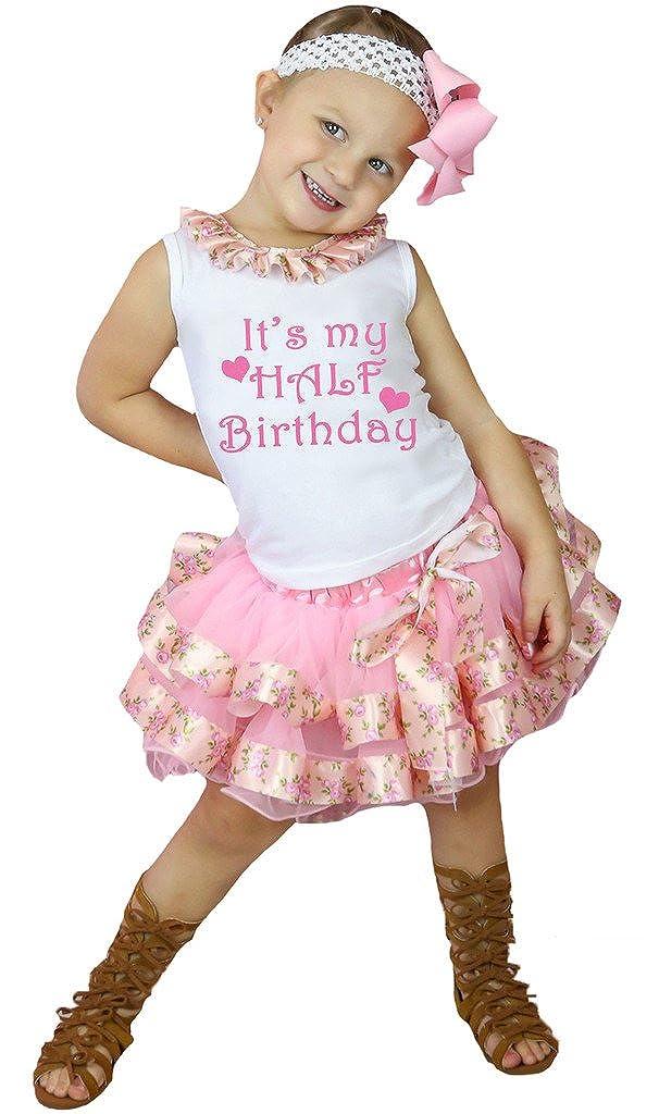 Petitebella Its My Half Birthday White Shirt Rose Ribbon Pink Petal Skirt Nb-8y
