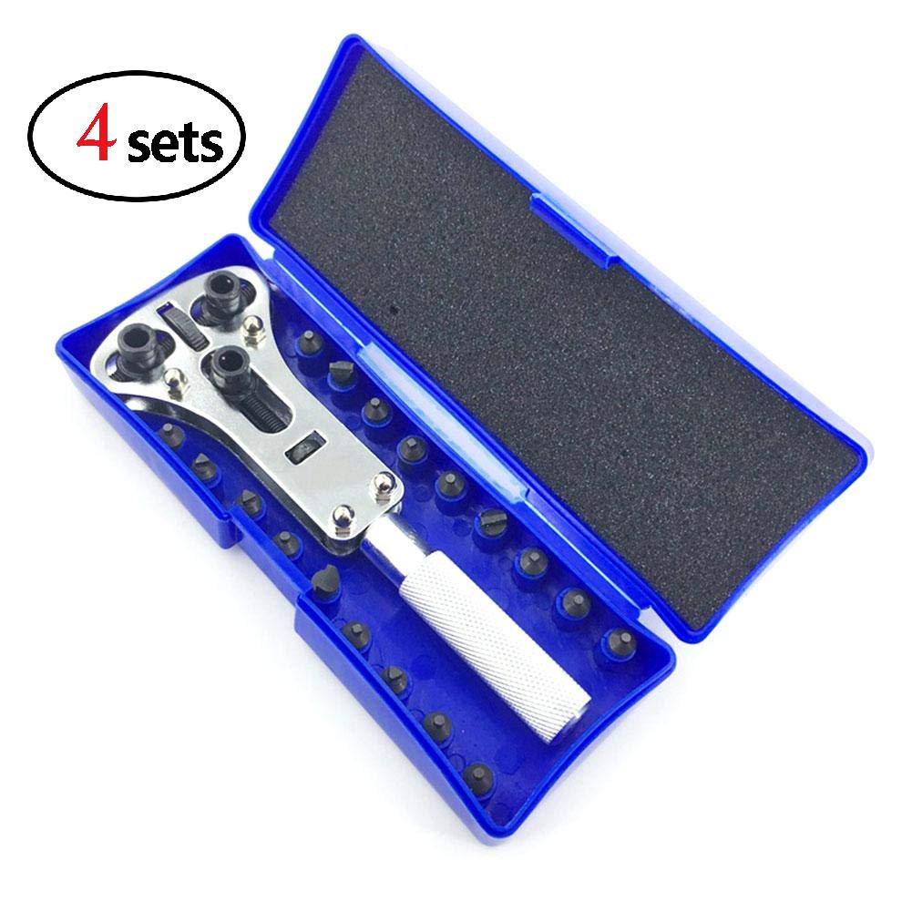 XuBa Watch Repair Tool Kit Adjustable Screw On Pin Watch Opener Wrench Caseback Remover (Large Wrench + Bits)(4pcs)