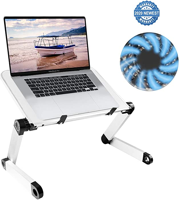 Adjustable Laptop Stand for Bed, Aluminum Laptop Desk Laptop Table Foldable Laptop Tray, Protable Laptop Raiser Book Stand with Cooling Fan Compatible Chromebook MacBook Air Pro XPS iPad (White)