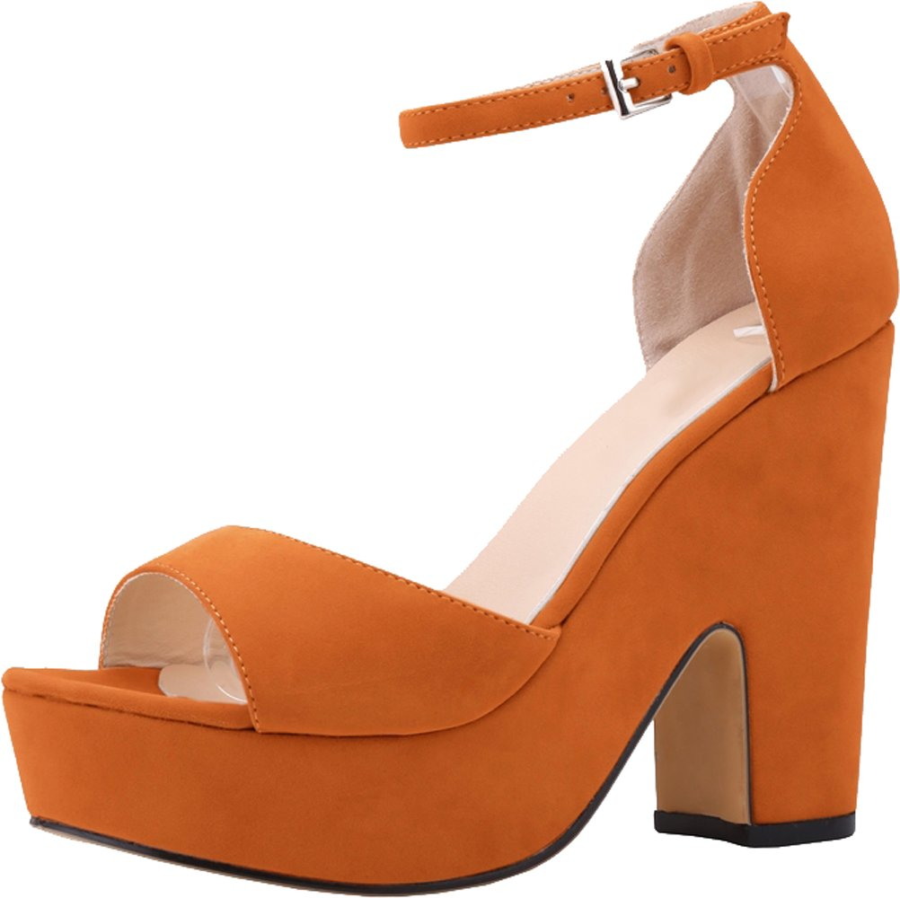 Salabobo Womens Sexy Fashion Night Club Party Platform Heighten Block Heel Wedges Cloth Sandal B01LZ5CT11 5 B(M) US Orange