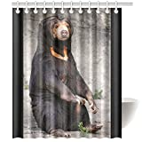CTIGERS Animal Theme Shower Curtain for Kids Cute Black Bear Sitting on the Ground Polyester Fabric Bathroom Decoration 60 x 72 Inch