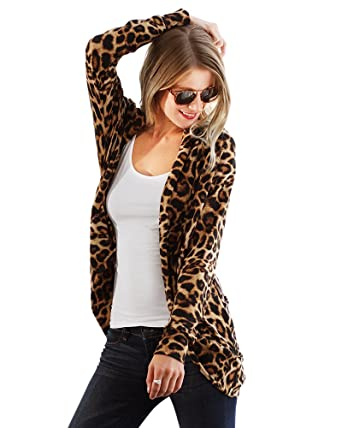 352528ae5eb7 Preppy Doll Made in USA Women's Cute and Trendy Animal Leopard Print Open  Front Cardigan (
