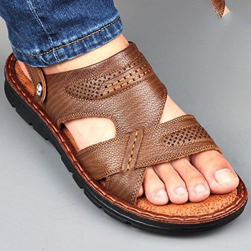 d'été Sandales décontracté de antidérapant pour et plage Pantoufles de pour lin homme chaussures homme xing de plate forme homme Sandales Sandales en cuir kaki qzInt