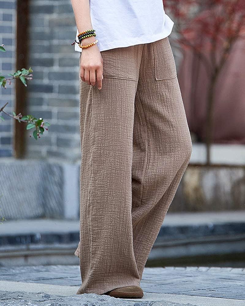 ShiFan Donna Pantaloni in Lino Palazzo Eleganti Casual Pantalone di Gamba Larga