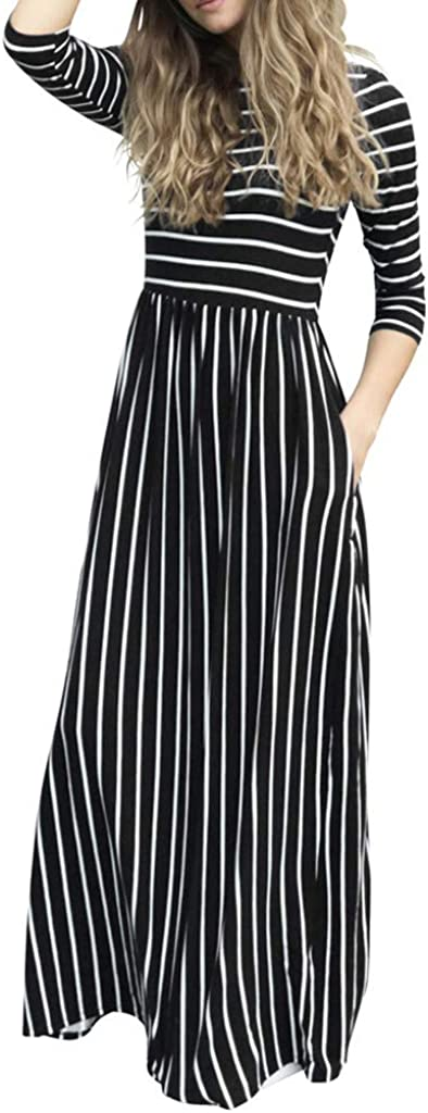 OFEFAN Womens Summer Sleeveless Striped Flowy Casual Long Maxi Dress with Pockets