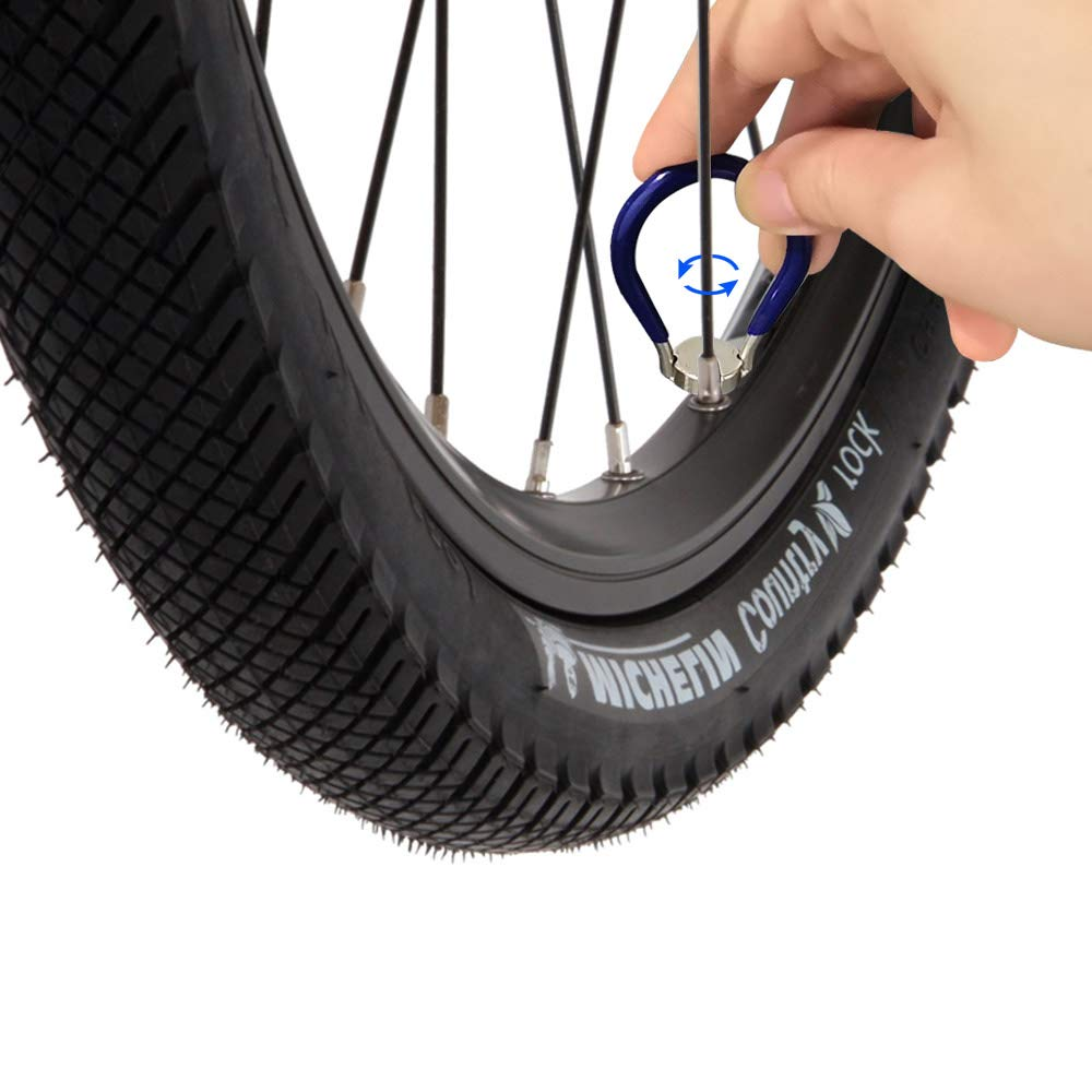 DECARETA Acero, 6 en uno, para Ajustar radios de Bicicleta Llave para radios de Bicicleta