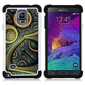 """Pulsar ( Colorido Oriental Art futurista Pintura Wallpaper"""" ) Samsung Galaxy Note 4 IV / SM-N910 SM-N910 híbrida Heavy Duty Impact pesado deber de protección a los choques caso Carcasa de parachoques"""