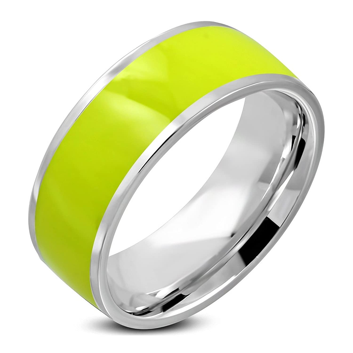 Stainless Steel 2 Color Yellow Enameled Comfort Fit Flat Band Ring