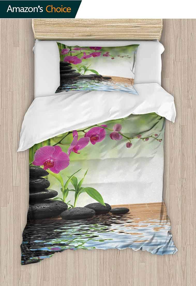Spa Custom Made Duvet Cover and Pillowcase Set, Composition Bamboo Tree Floor Mat Orchid Stones Wellness Greenery, Reversible Coverlet, Bedspread, Gifts for Girls Women, 79 W x 90 L Inches