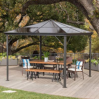 Christopher Knight Home Halley Outdoor 10 x 10 Foot Black Rust Proof Aluminum Framed Hardtop Gazebo (No Curtains)
