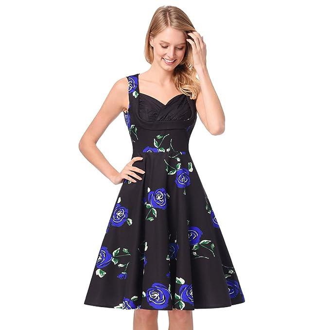 antaina Estampado Floral Azul Vintage de Los Años 50 Acampanó Una Línea Vestido de Fiesta de