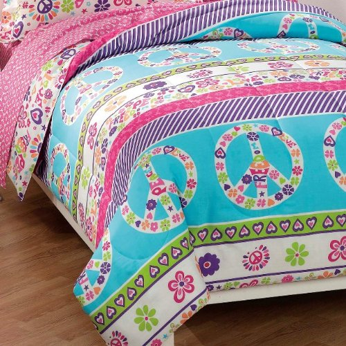 peace and love peace signs girls comforter set multi colored twin sheet set 689998439964 ebay. Black Bedroom Furniture Sets. Home Design Ideas