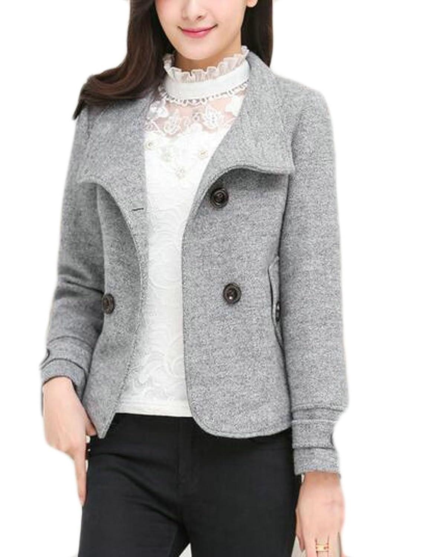WSPLYSPJY Womens Autumn Winter Jacket Slim Fit Short Wool Blend Toggle Pea Coat