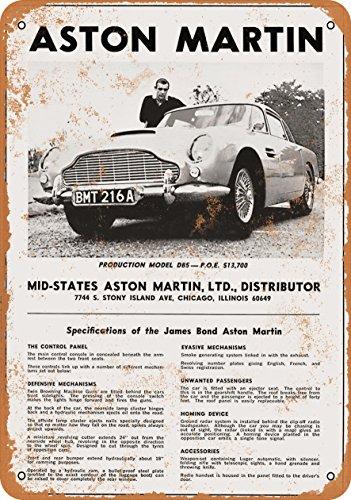 9 x 12 METAL SIGN - 1966 James Bond Aston Martin - Vintage Look Reproduction