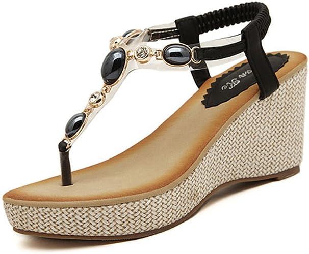 Damen Böhmen Sandaletten Wedges Strass Dianetten Sandalen mit Keilabsatz Sommer Zehentrenner Freizeit Schuhe